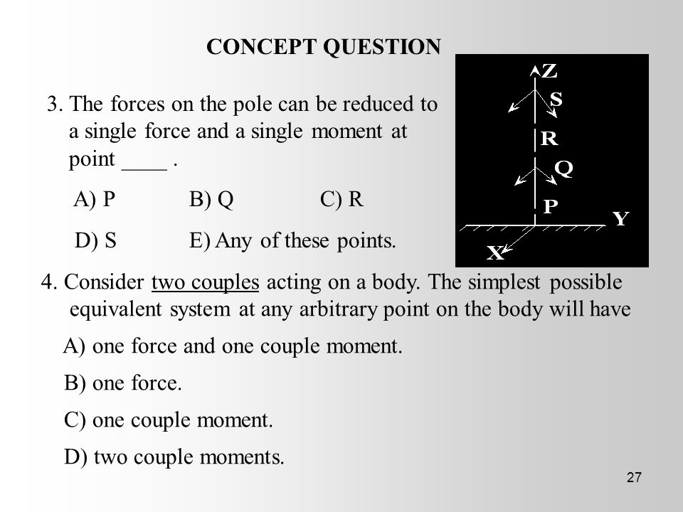 CONCEPT QUESTION • 3. The forces on the pole can be reduced to a single force and a single moment at point ____ .