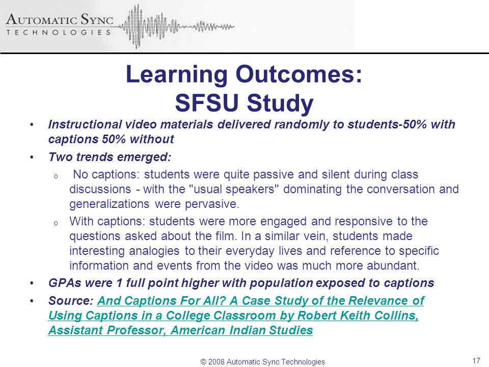 Learning Outcomes: SFSU Study