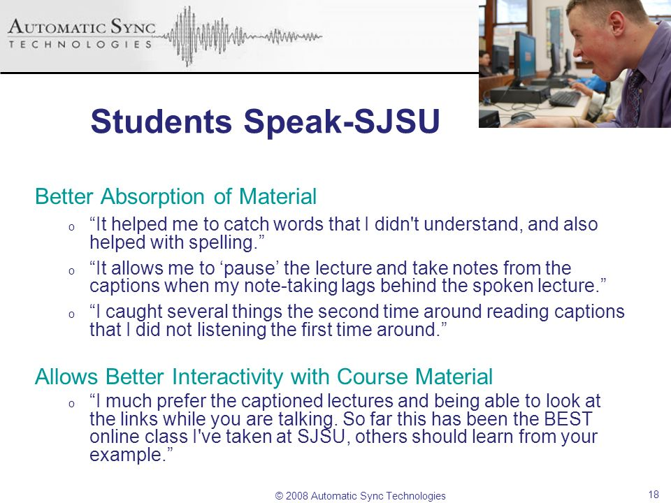 Students Speak-SJSU Better Absorption of Material