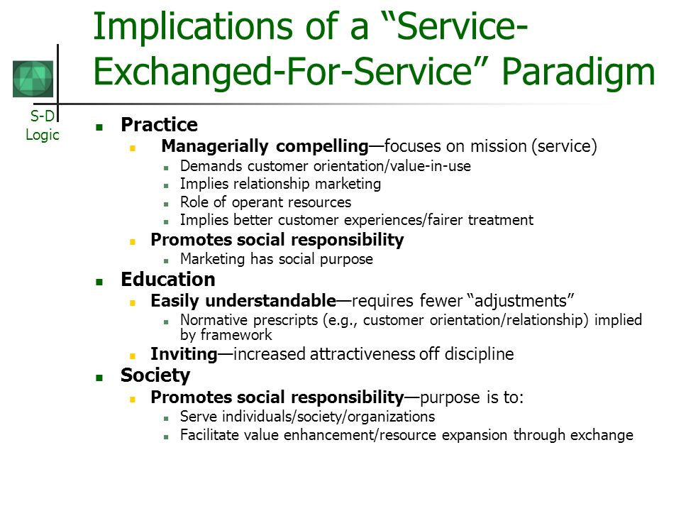 Implications of a Service-Exchanged-For-Service Paradigm