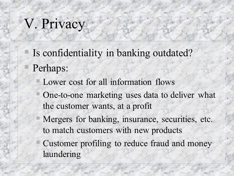 V. Privacy Is confidentiality in banking outdated Perhaps: