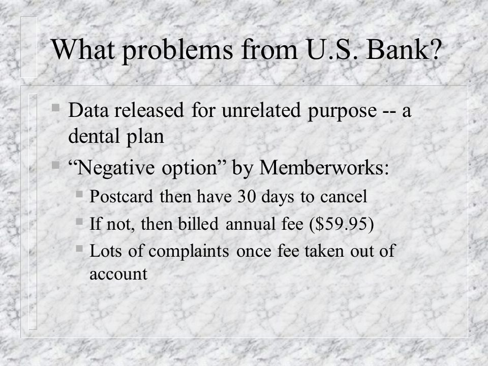 What problems from U.S. Bank