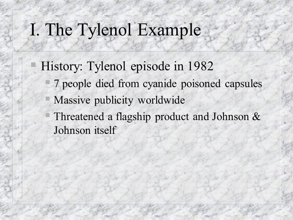 I. The Tylenol Example History: Tylenol episode in 1982