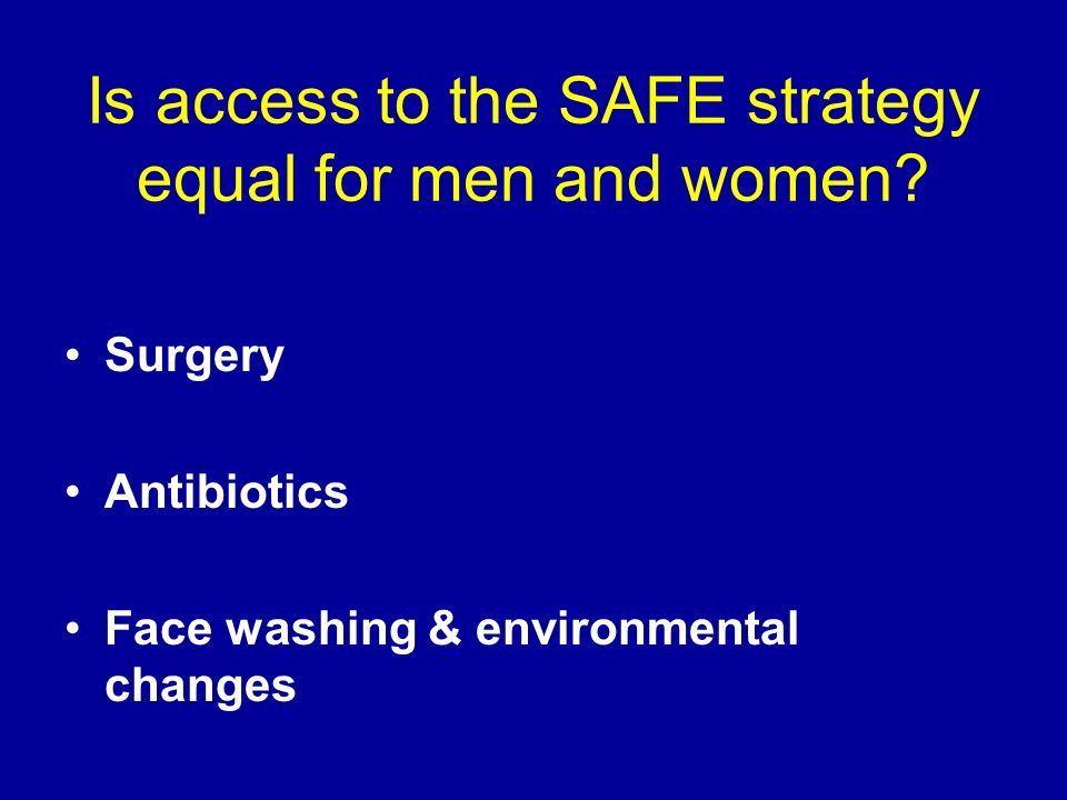 Is access to the SAFE strategy equal for men and women