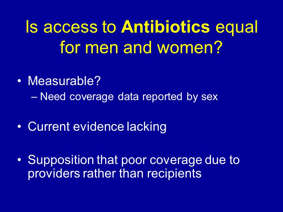 Is access to Antibiotics equal for men and women