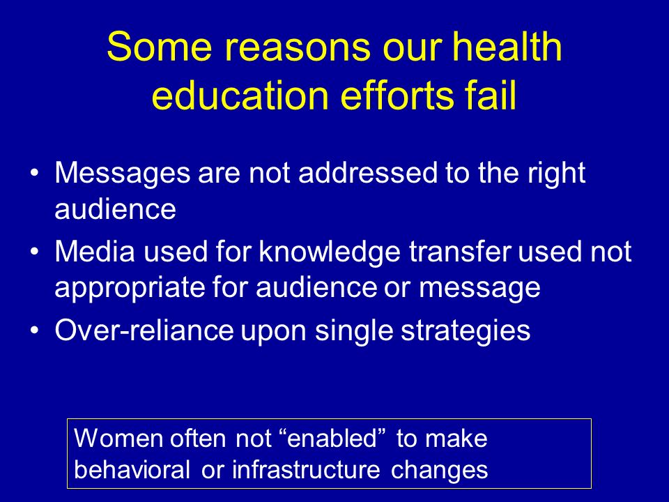 Some reasons our health education efforts fail