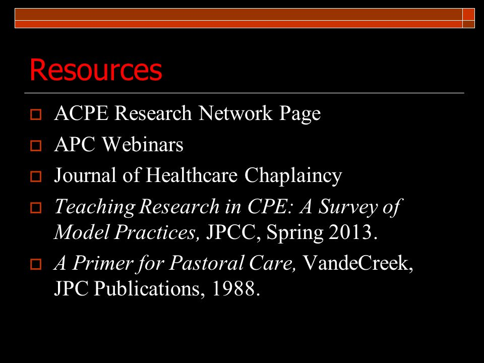 Resources ACPE Research Network Page APC Webinars