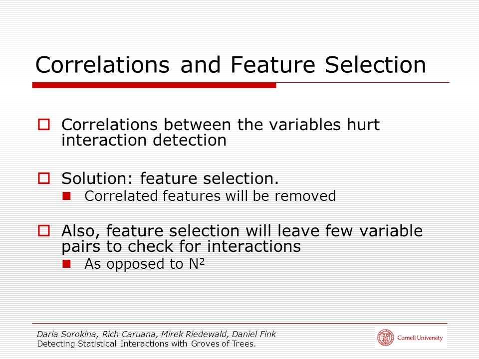 Correlations and Feature Selection