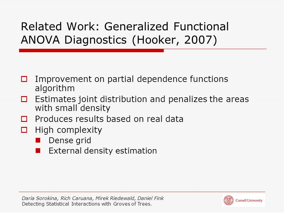 Related Work: Generalized Functional ANOVA Diagnostics (Hooker, 2007)