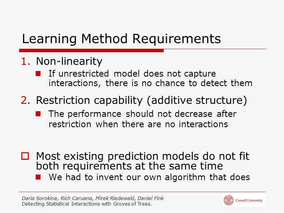 Learning Method Requirements