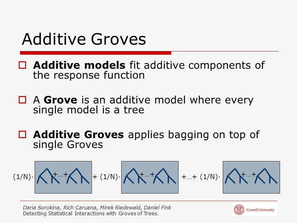 Additive Groves Additive models fit additive components of the response function. A Grove is an additive model where every single model is a tree.