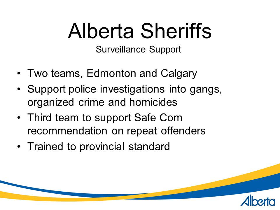 Alberta Sheriffs Two teams, Edmonton and Calgary