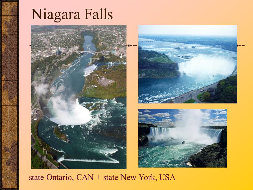 Niagara Falls state Ontario, CAN + state New York, USA