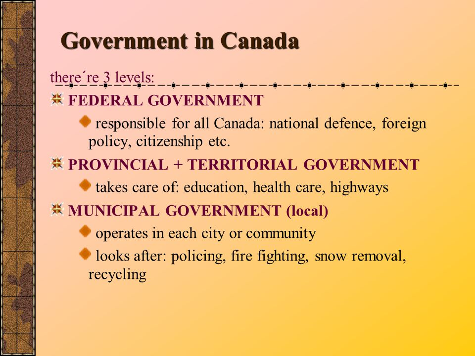 Government in Canada there´re 3 levels: FEDERAL GOVERNMENT
