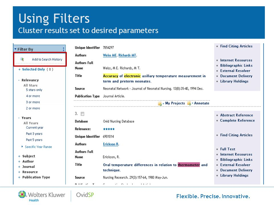 Using Filters Cluster results set to desired parameters