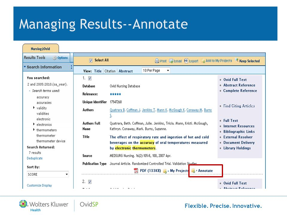 Managing Results--Annotate
