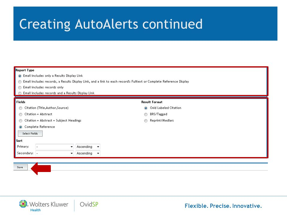 Creating AutoAlerts continued