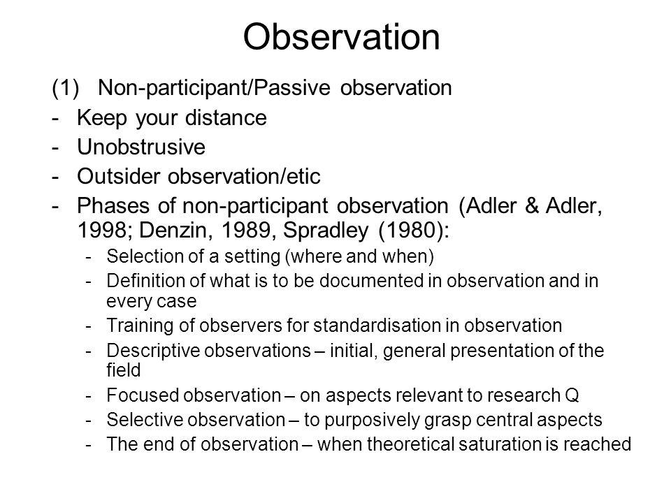 define non participant observation