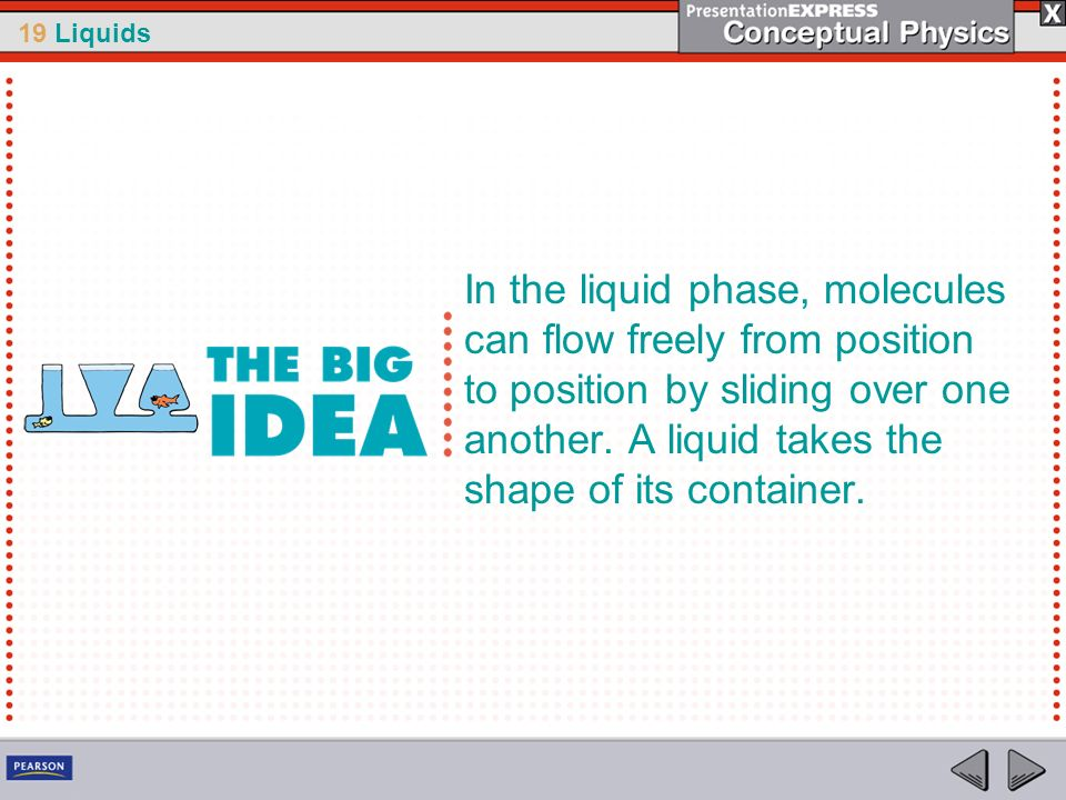 In the liquid phase, molecules can flow freely from position to position by sliding over one another.