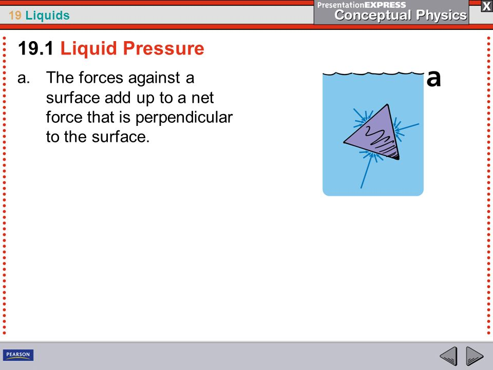 19.1 Liquid Pressure The forces against a surface add up to a net force that is perpendicular to the surface.