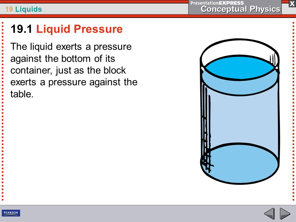 19.1 Liquid Pressure The liquid exerts a pressure against the bottom of its container, just as the block exerts a pressure against the table.