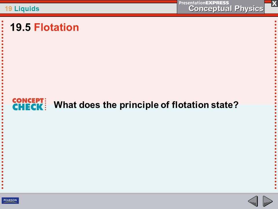 19.5 Flotation What does the principle of flotation state