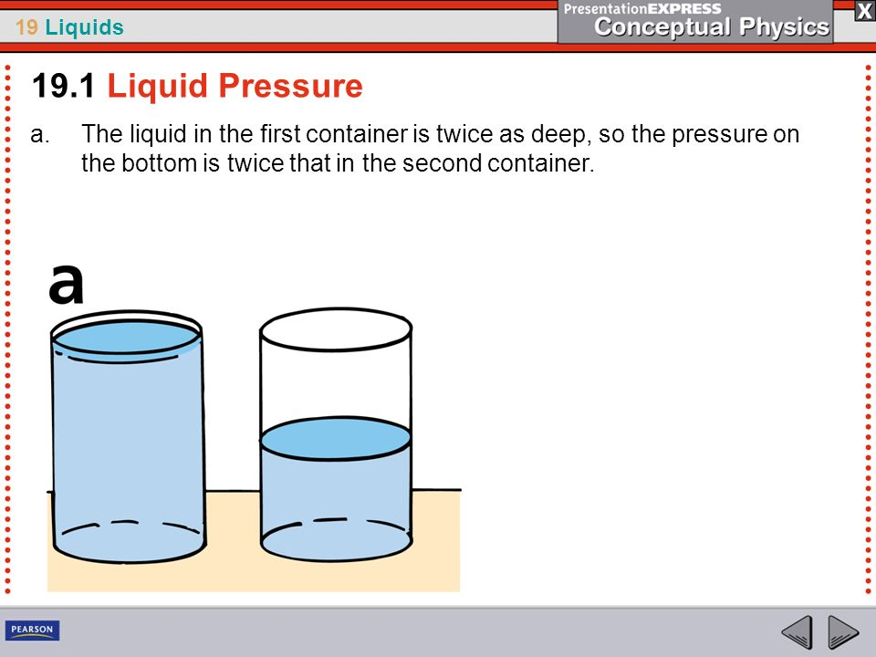 19.1 Liquid Pressure The liquid in the first container is twice as deep, so the pressure on the bottom is twice that in the second container.