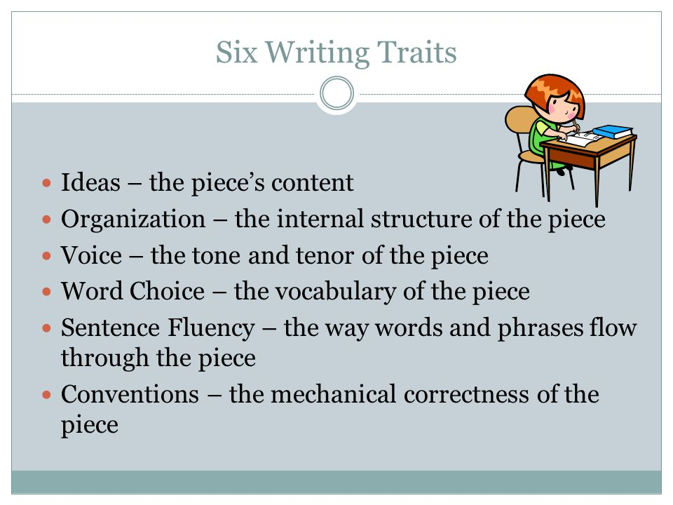 Six Writing Traits Ideas – the piece's content