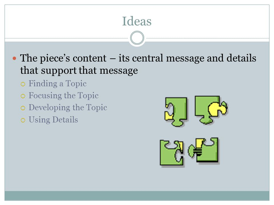 Ideas The piece's content – its central message and details that support that message. Finding a Topic.