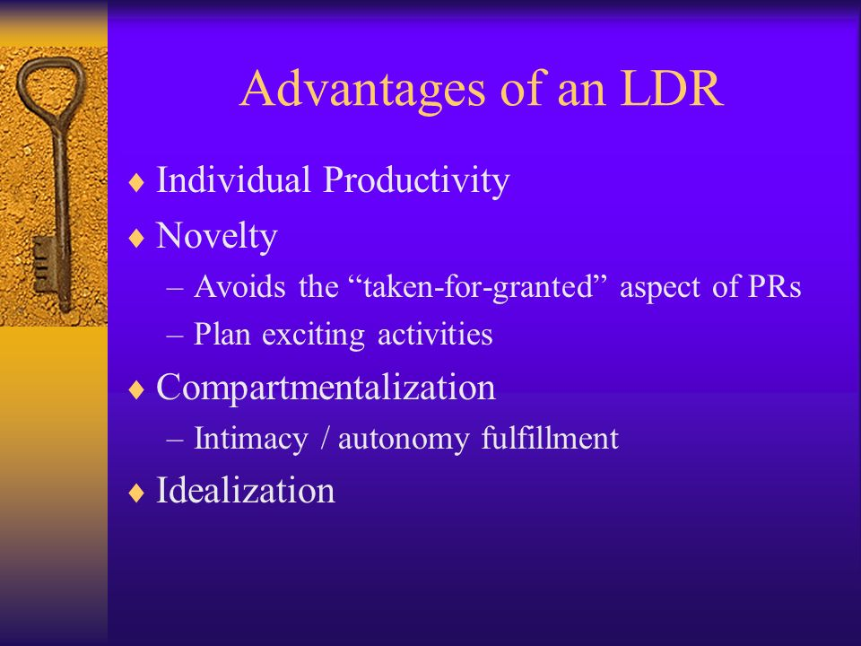 Advantages of an LDR Individual Productivity Novelty