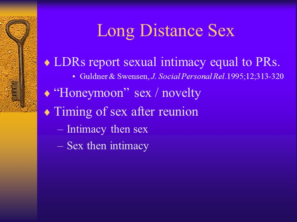 Long Distance Sex LDRs report sexual intimacy equal to PRs.