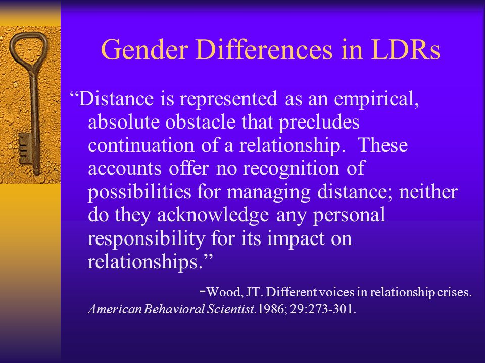 Gender Differences in LDRs