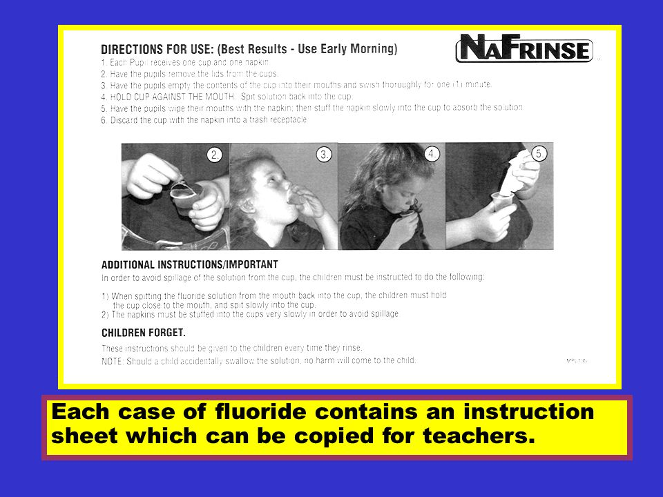 Each case of fluoride contains an instruction sheet which can be copied for teachers.