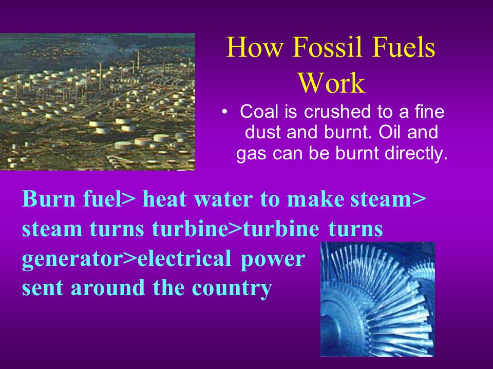 How Fossil Fuels Work Coal is crushed to a fine dust and burnt. Oil and gas can be burnt directly.