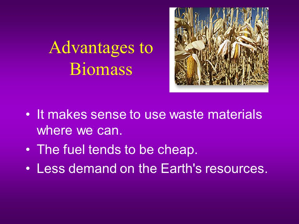Advantages to Biomass It makes sense to use waste materials where we can. The fuel tends to be cheap.