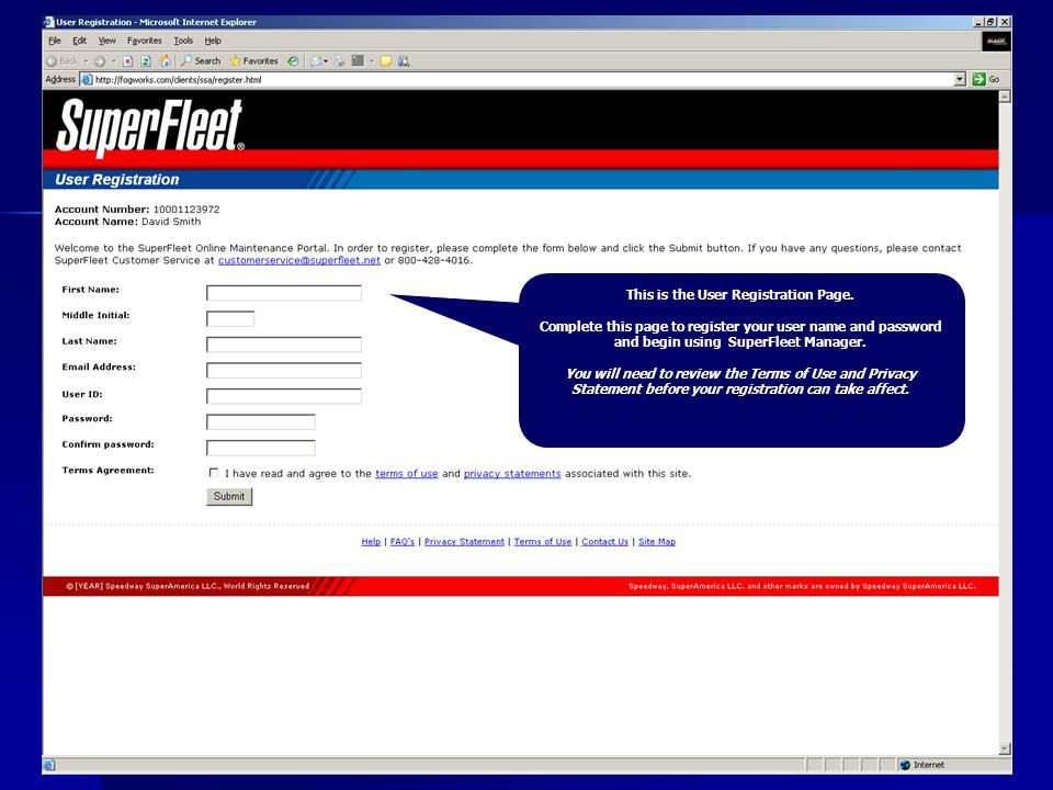 This is the User Registration Page.