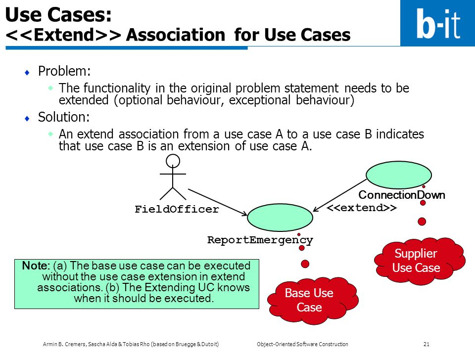 Use Cases: <<Extend>> Association for Use Cases