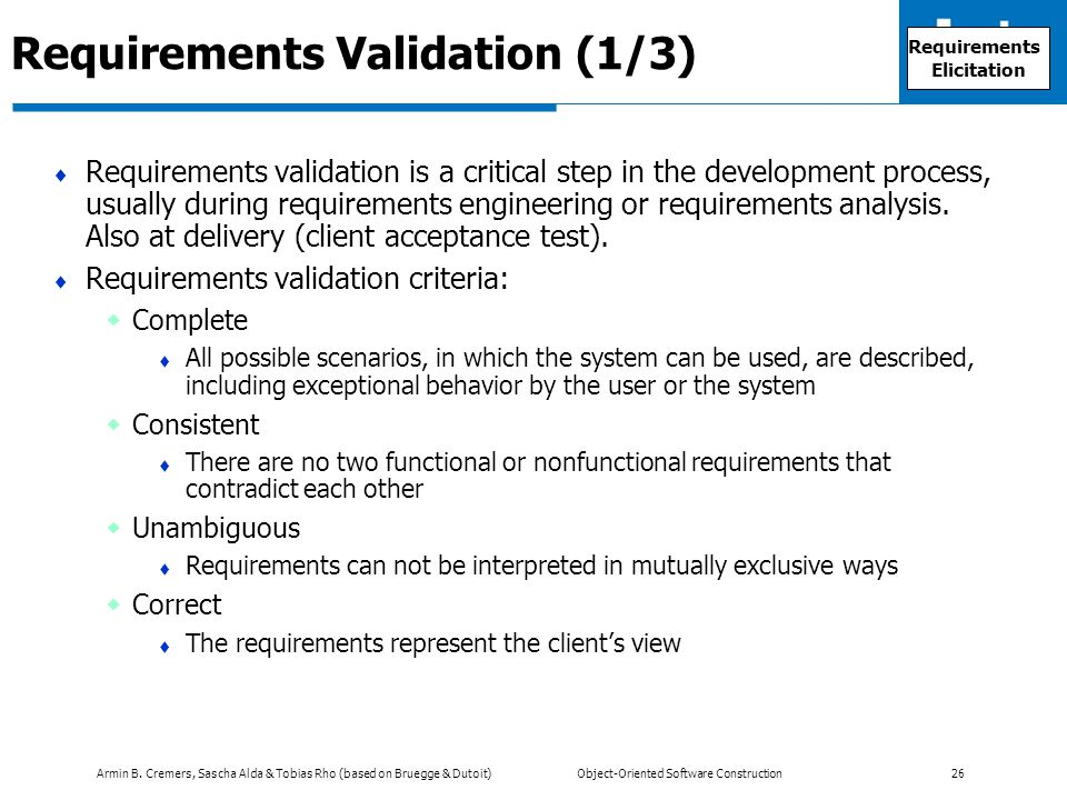 Requirements Validation (1/3)