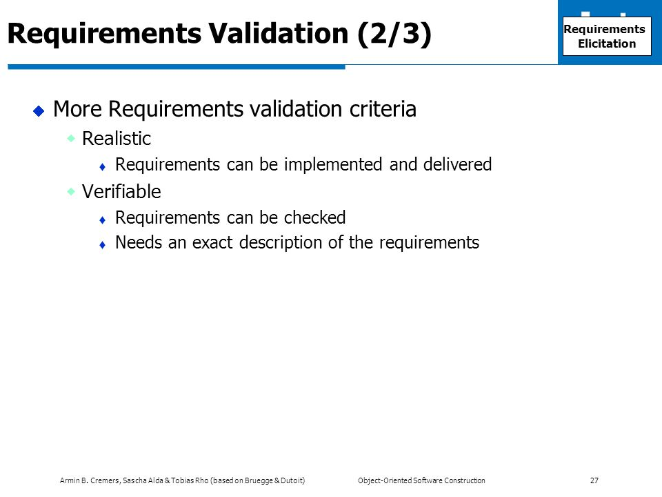 Requirements Validation (2/3)