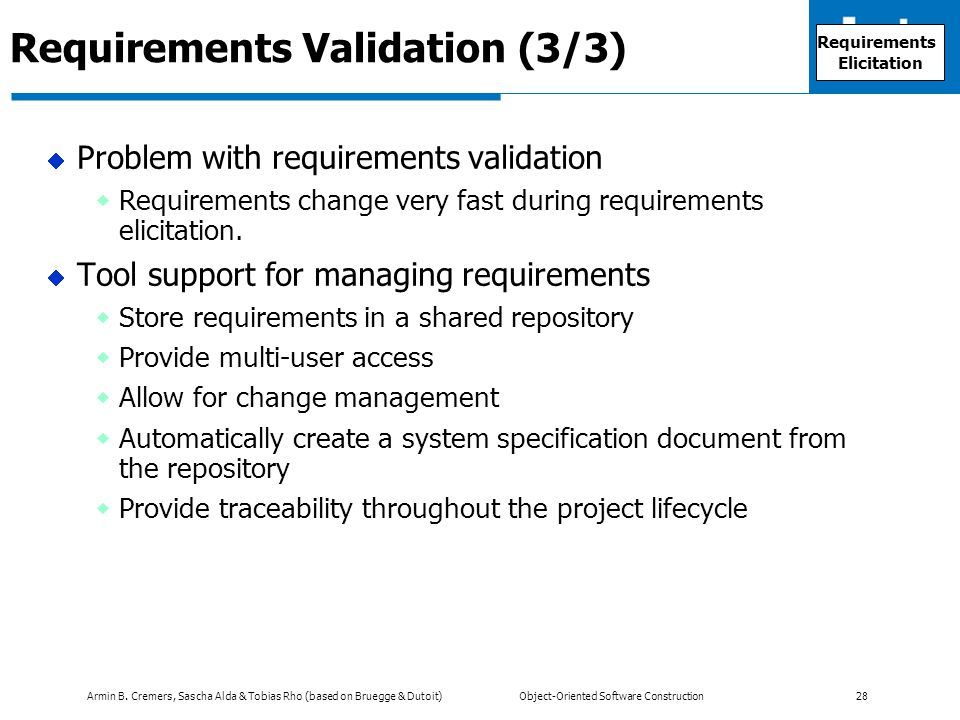 Requirements Validation (3/3)