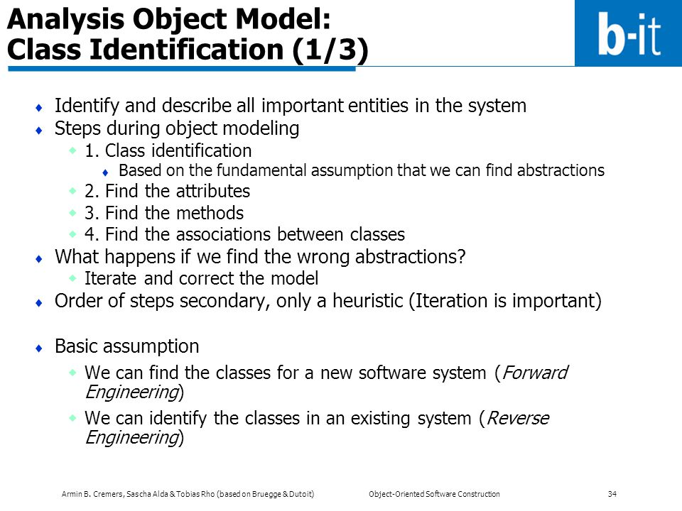 Analysis Object Model: Class Identification (1/3)