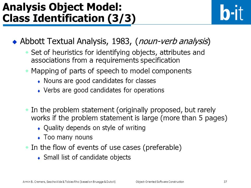 Analysis Object Model: Class Identification (3/3)