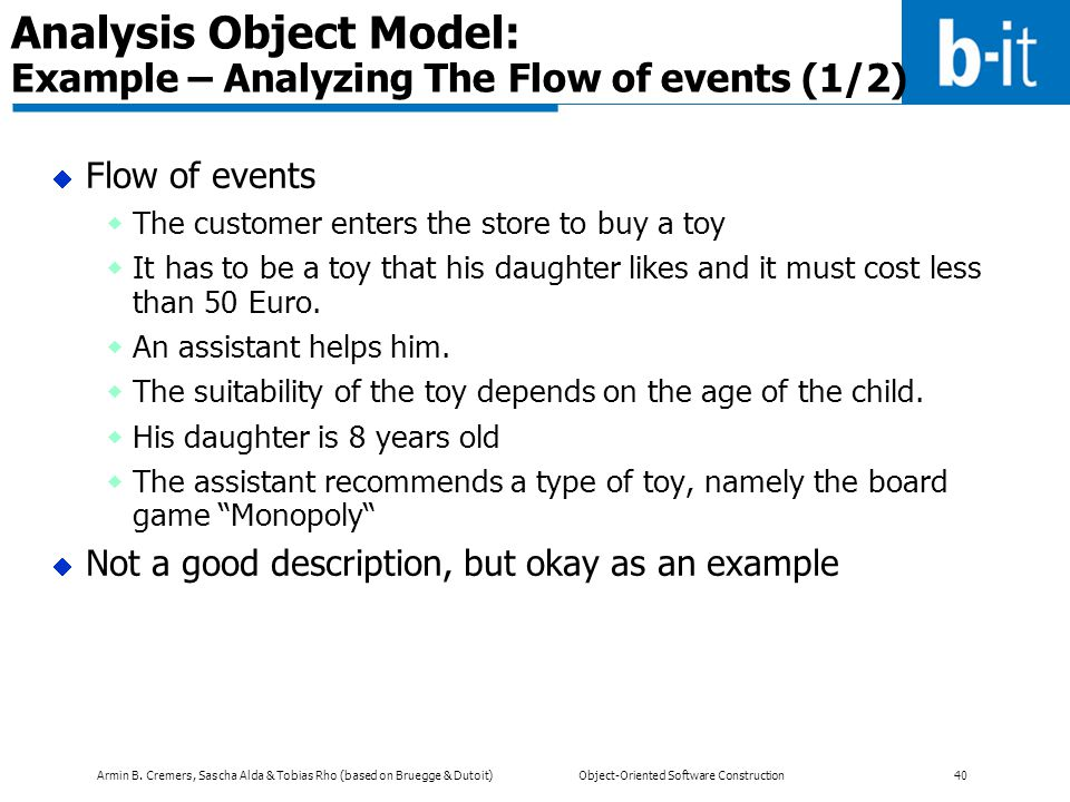 Analysis Object Model: Example – Analyzing The Flow of events (1/2)