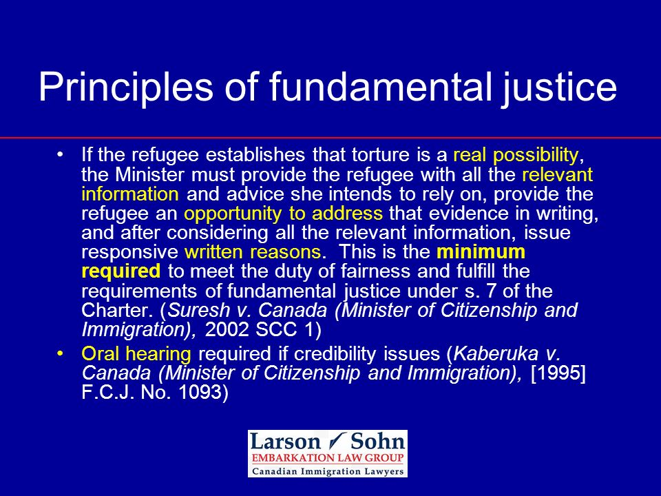 Principles of fundamental justice