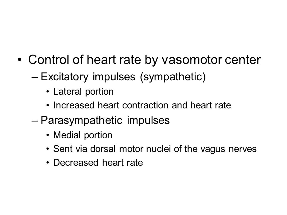 Control of heart rate by vasomotor center