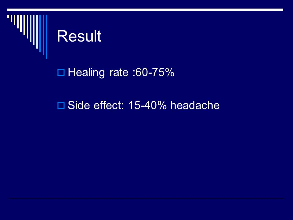Result Healing rate :60-75% Side effect: 15-40% headache
