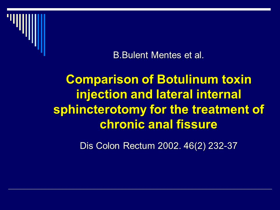 B.Bulent Mentes et al. Comparison of Botulinum toxin injection and lateral internal sphincterotomy for the treatment of chronic anal fissure.