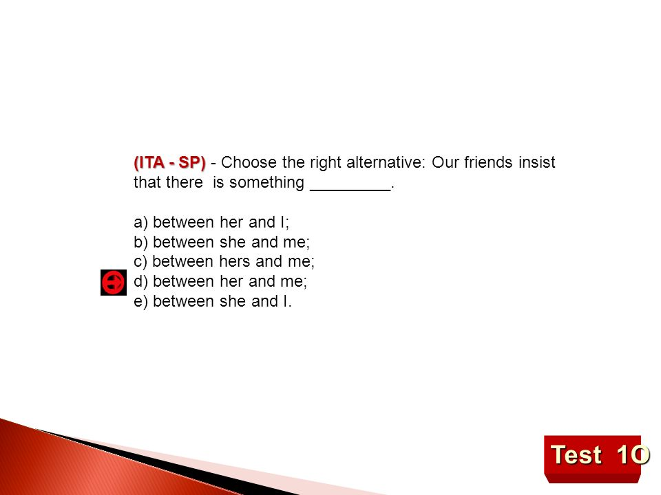 (ITA - SP) - Choose the right alternative: Our friends insist that there is something _________.