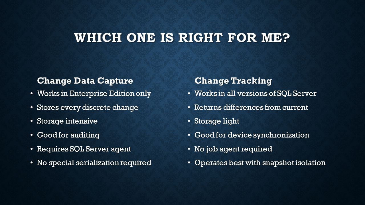 change data capture vs change tracking