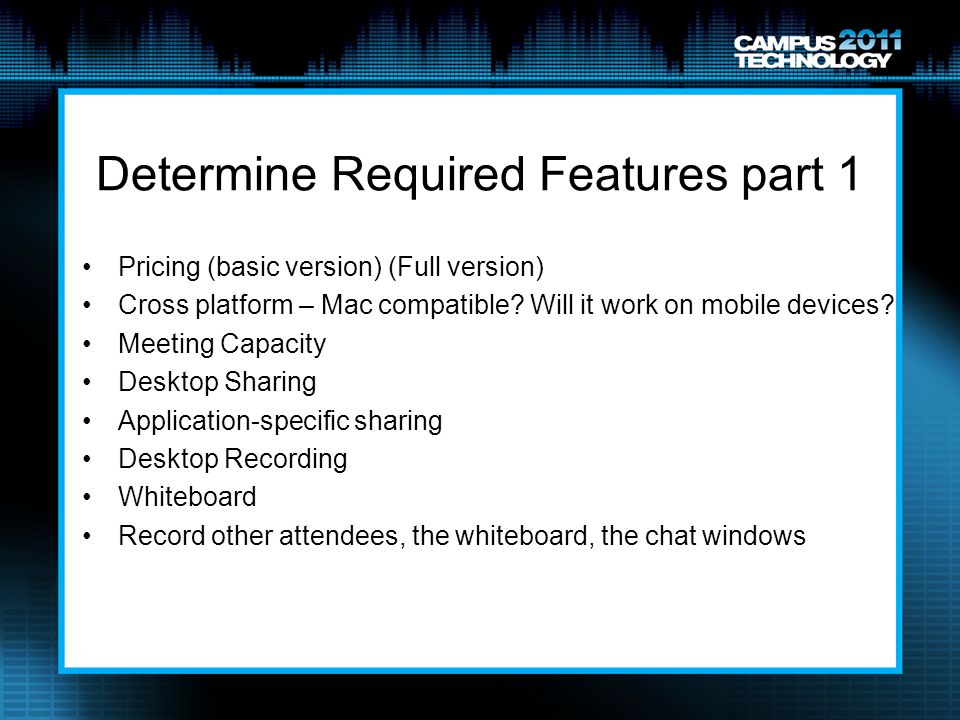 Determine Required Features part 1
